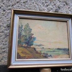 Arte: GALICIA VIGO - OLEO SOBRE TABLEX FIRMADO ' E. BAO ', PAISAJE RIA VIGO - 26X20CM + MOLDURA + INFO. Lote 190928083