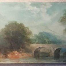 Arte: PAISAJE IMPRESIONISTA, OLEO SOBRE TABLA,SIGLO XIX, FIRMA ILEGIBLE. Lote 190981590