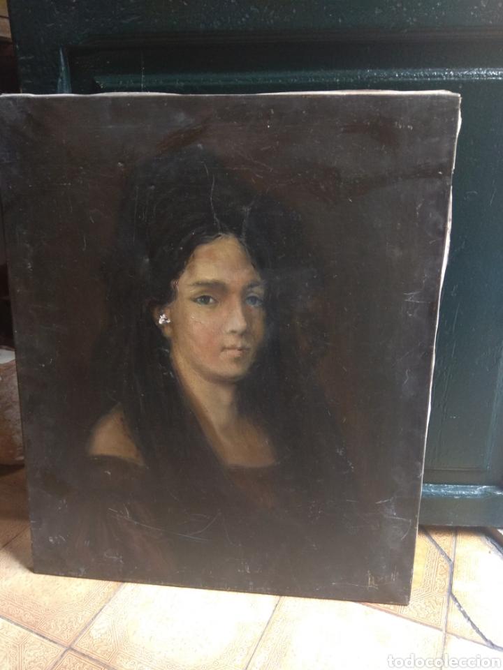 Arte: Oleo Sobre Lienzo Retrato de Dama XIX - Foto 2 - 190991148