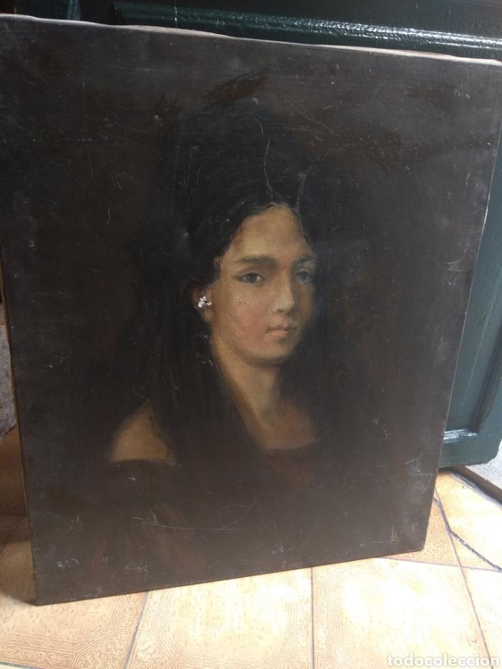 Arte: Oleo Sobre Lienzo Retrato de Dama XIX - Foto 3 - 190991148