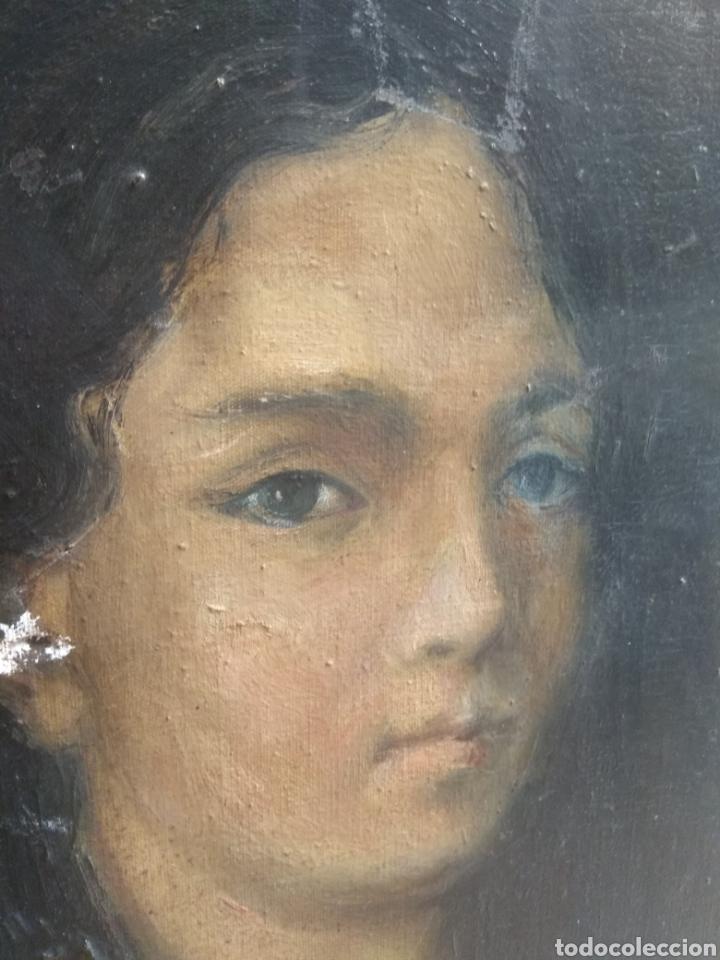 Arte: Oleo Sobre Lienzo Retrato de Dama XIX - Foto 8 - 190991148