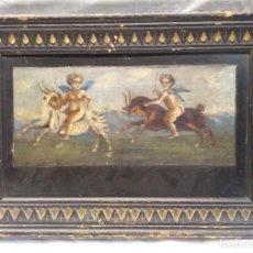 Arte: ANGELES CABALGANDO CON CABRAS PINTURA AL OLEO S XVIII. MED. 43 X 30 CM. Lote 190995937