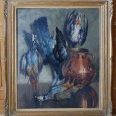 Arte: JOSEP GUARDIOLA TORREGROSA (BARCELONA, 1904-1983) - BODEGON DE CAZA: PERDICES Y PALOMAS. Lote 191003206
