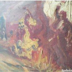 Arte: OLEO SOBRE LIENZO CAMPAMENTO GITANO SIGLO XVII O XVIII) FIRMA ILEGIBLE.ESTILO SERRASANTA. Lote 191004480