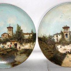 Arte: JOAQUIN ARAUJO Y RUANO (CIUDAD REAL, 1851 - MADRID, 1894) PAREJA DE PLATOS PINTADOS AL OLEO. Lote 191063178