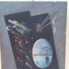 Arte: PINTURA AL ÓLEO, SOBRE BASTIDOR. AÑOS 30/40. PALETA DE PINTOR Y PAISAJE MARINO. Lote 191065240