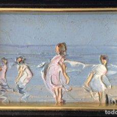 Arte: ANTIGUO ÓLEO TEMAS NIÑAS EN EL MAR.FIRMADO-MEDIDA 18X13 CM. Lote 191067917