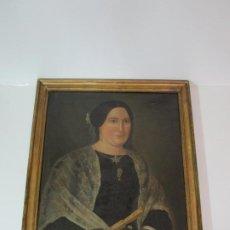 Arte: PINTURA, ÓLEO SOBRE TELA - RETRATO DE DAMA - ABANICO, JOYAS, BORDADOS - S. XVIII-XIX. Lote 191070387
