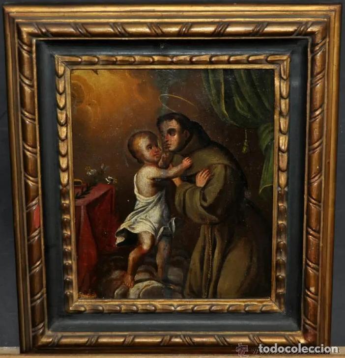 ÓLEO S/TABLA -SAN ANTONIO CON EL NIÑO-. ESCUELA BARROCA ANDALUZA DEL S. XVII. DIM.- 35X31 CMS (Arte - Pintura - Pintura al Óleo Antigua siglo XVII)