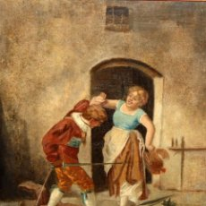 Arte: GINO BENELLI (ITALIA, SIGLO XIX) OLEO SOBRE TELA FIRMADO. PAREJA DE PERSONAJES. Lote 191096920