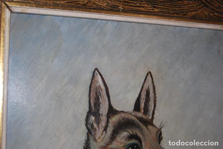 Arte: ÓLEO SOBRE TABLA - FIRMADO TIELVE - PERRO PASTOR - RETRATO - AÑOS 60 - Foto 4 - 191134033