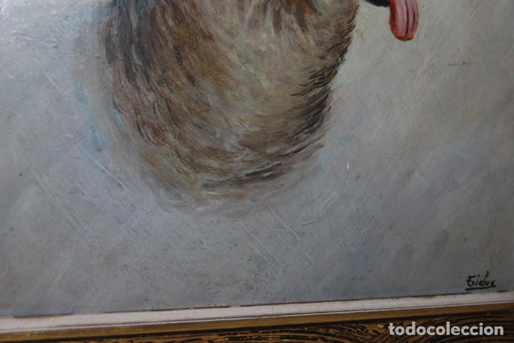 Arte: ÓLEO SOBRE TABLA - FIRMADO TIELVE - PERRO PASTOR - RETRATO - AÑOS 60 - Foto 6 - 191134033