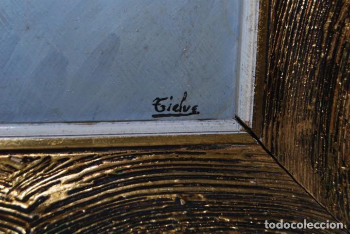 Arte: ÓLEO SOBRE TABLA - FIRMADO TIELVE - PERRO PASTOR - RETRATO - AÑOS 60 - Foto 7 - 191134033