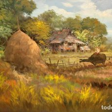 Arte: CESAR BUENAVENTURA Y ESPINOSA (FILIPINAS, 1919-1983) OLEO SOBRE TELA DEL AÑO 1980. PAISAJE FILIPINO. Lote 191135957