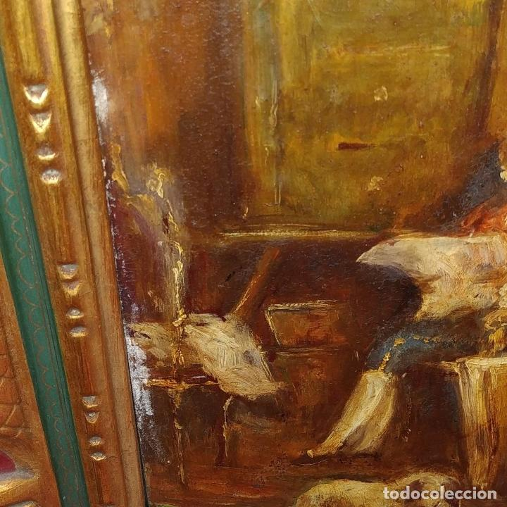 Arte: CABALLERO LEYENDO. ÓLEO SOBRE MADERA. CÍRCULO DE LUCAS VILLAAMIL. ESPAÑA. XIX-XX - Foto 4 - 191176081