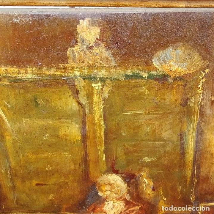 Arte: CABALLERO LEYENDO. ÓLEO SOBRE MADERA. CÍRCULO DE LUCAS VILLAAMIL. ESPAÑA. XIX-XX - Foto 6 - 191176081