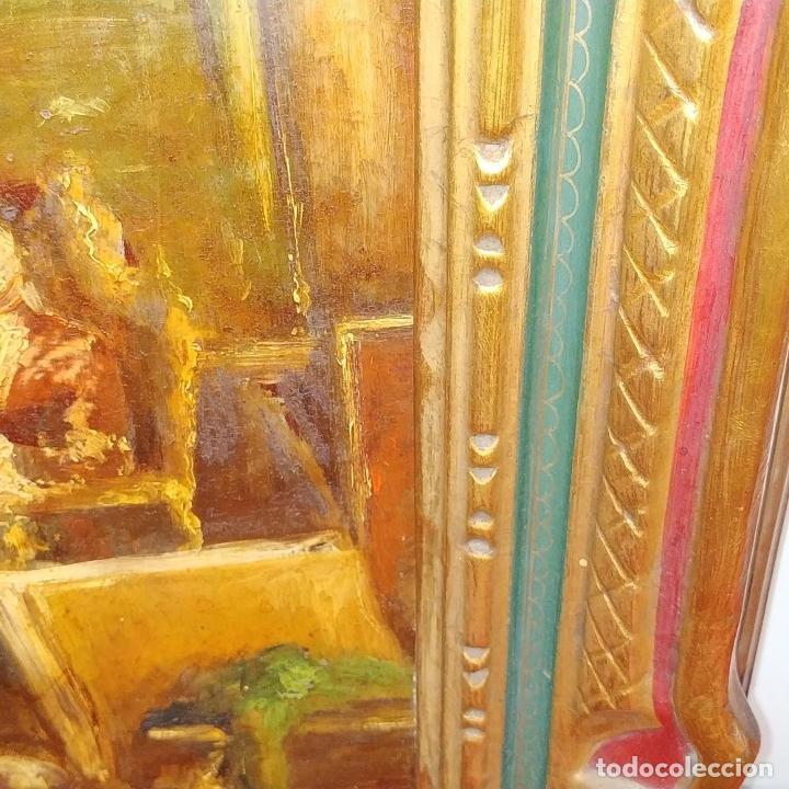 Arte: CABALLERO LEYENDO. ÓLEO SOBRE MADERA. CÍRCULO DE LUCAS VILLAAMIL. ESPAÑA. XIX-XX - Foto 9 - 191176081