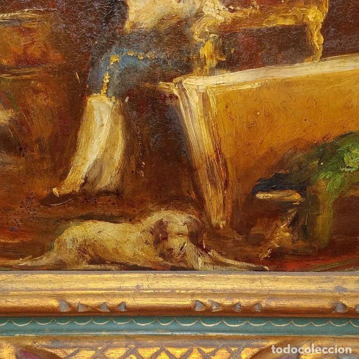 Arte: CABALLERO LEYENDO. ÓLEO SOBRE MADERA. CÍRCULO DE LUCAS VILLAAMIL. ESPAÑA. XIX-XX - Foto 10 - 191176081