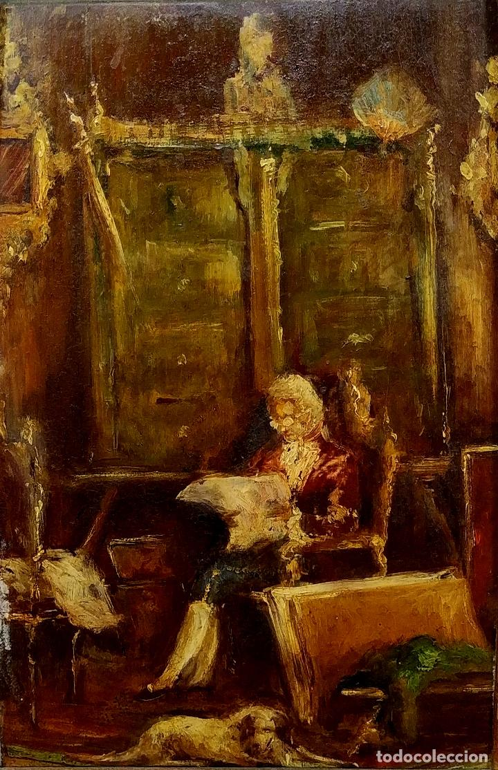 CABALLERO LEYENDO. ÓLEO SOBRE MADERA. CÍRCULO DE LUCAS VILLAAMIL. ESPAÑA. XIX-XX (Arte - Pintura - Pintura al Óleo Moderna siglo XIX)