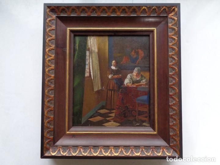 PEQUEÑO CUADRO ANTIGUO PINTADO AL OLEO (Arte - Pintura - Pintura al Óleo Moderna siglo XIX)