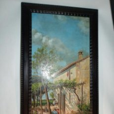 Arte: BELLO OLEO SOBRE LIENZO CON ESCENA COSTUMBRISTA. PATIO DE CASA DE CAMPO. SIGLO XIX. Lote 191291927