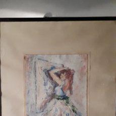 Arte: JOVEN FRENTE ESPEJO ACUARELA ORIGINAL FIRMADA REVENGA 69. Lote 191293725