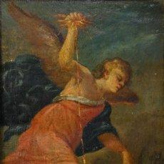 Arte: ÓLEO SOBRE COBRE SAN MIGUEL VENCIENDO A SATANÁS SIGLO XVII. Lote 191361723