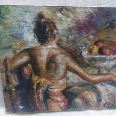 Arte: JUNTO AL FRUTERO (ORIGINAL). Lote 191384378