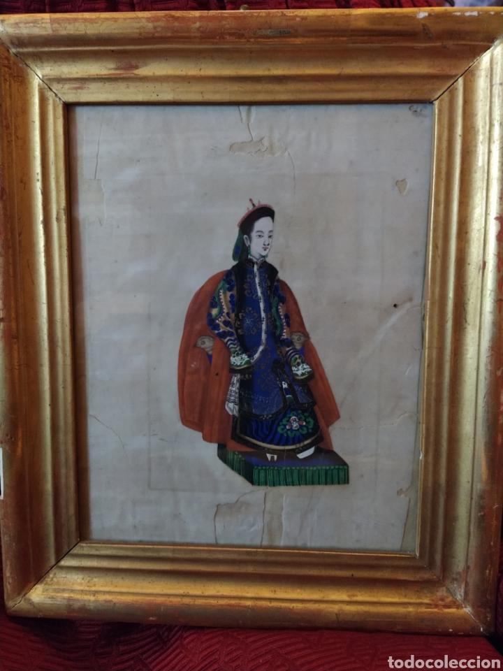 Arte: Magnifica pintura china sobre papel de arroz. Finales siglo XVIII. - Foto 2 - 191397706