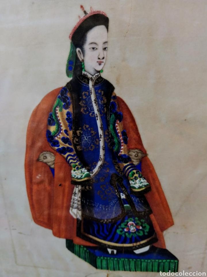 Arte: Magnifica pintura china sobre papel de arroz. Finales siglo XVIII. - Foto 3 - 191397706