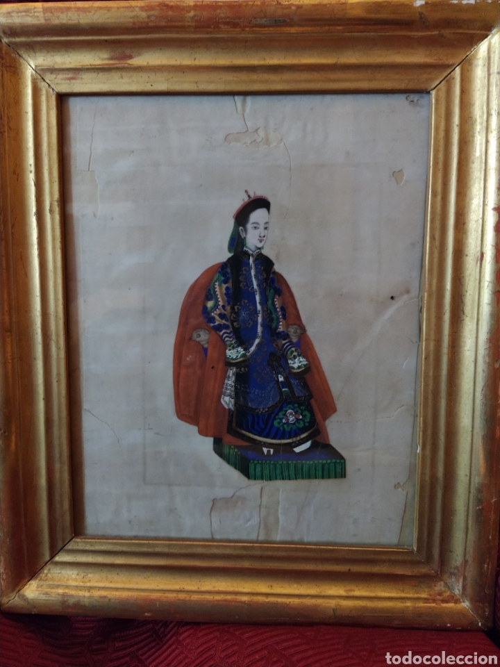 MAGNIFICA PINTURA CHINA SOBRE PAPEL DE ARROZ. FINALES SIGLO XVIII. (Arte - Pintura - Pintura al Óleo Antigua siglo XVIII)