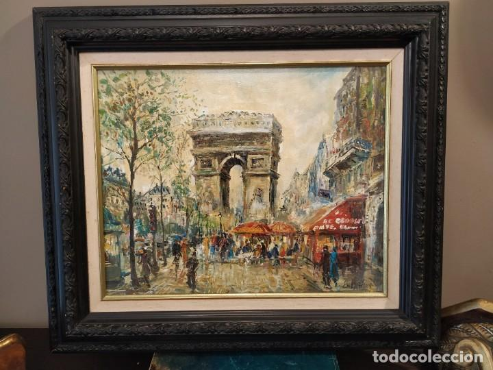 OLEO PARIS ARCO DEL TRIUNFO FIRMA EM LA FLEUR 94. (Arte - Pintura - Pintura al Óleo Contemporánea )
