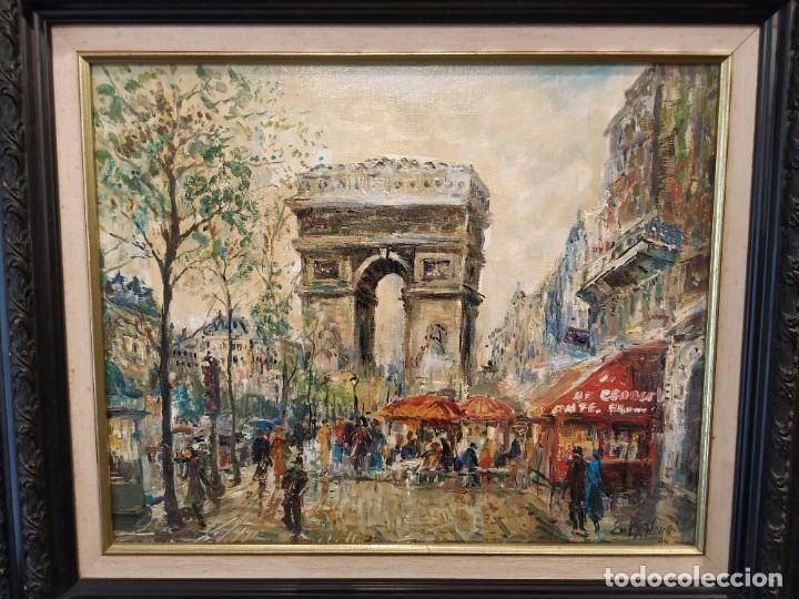 Arte: OLEO PARIS ARCO DEL TRIUNFO FIRMA EM LA FLEUR 94. - Foto 2 - 191402768