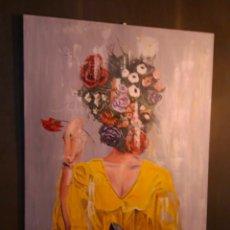 Arte: MUJER ANDALUZA. RETRATO. PORTRAIT. ARTE. FLAMENCO. FLORES. PRIMAVERA. ÓLEO SOBRE LIENZO. Lote 191408750