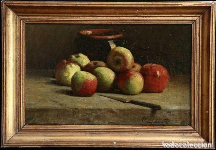 ALFRED ARTHUR BRUNEL DE NEUVILLE (1852-1941) MANZANAS (Arte - Pintura - Pintura al Óleo Moderna siglo XIX)