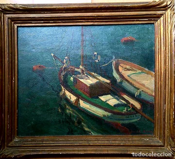JACINTO OLIVÉ FONT (BCN 1896-1967) MARINA FIRMADA Y FECHADA EN 1946 DIMENSIONES OBRA 46.5X38.5CM (Arte - Pintura - Pintura al Óleo Moderna siglo XIX)