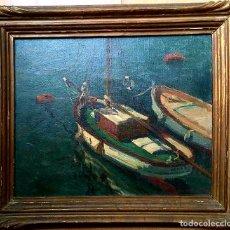 Arte: JACINTO OLIVÉ FONT (BCN 1896-1967) MARINA FIRMADA Y FECHADA EN 1946 DIMENSIONES OBRA 46.5X38.5CM. Lote 191457915