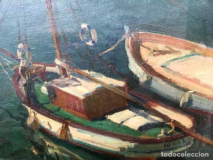 Arte: JACINTO OLIVÉ FONT (BCN 1896-1967) Marina firmada y fechada en 1946 Dimensiones obra 46.5x38.5cm - Foto 2 - 191457915