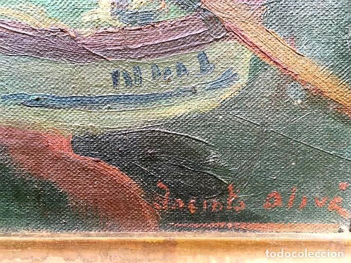 Arte: JACINTO OLIVÉ FONT (BCN 1896-1967) Marina firmada y fechada en 1946 Dimensiones obra 46.5x38.5cm - Foto 3 - 191457915
