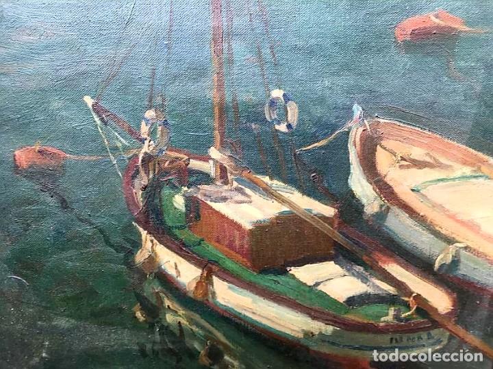 Arte: JACINTO OLIVÉ FONT (BCN 1896-1967) Marina firmada y fechada en 1946 Dimensiones obra 46.5x38.5cm - Foto 4 - 191457915