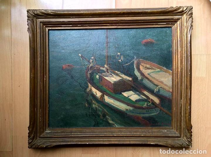 Arte: JACINTO OLIVÉ FONT (BCN 1896-1967) Marina firmada y fechada en 1946 Dimensiones obra 46.5x38.5cm - Foto 5 - 191457915