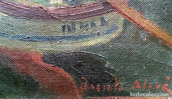 Arte: JACINTO OLIVÉ FONT (BCN 1896-1967) Marina firmada y fechada en 1946 Dimensiones obra 46.5x38.5cm - Foto 7 - 191457915