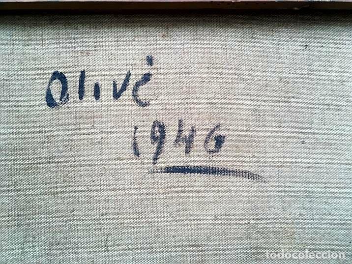 Arte: JACINTO OLIVÉ FONT (BCN 1896-1967) Marina firmada y fechada en 1946 Dimensiones obra 46.5x38.5cm - Foto 8 - 191457915