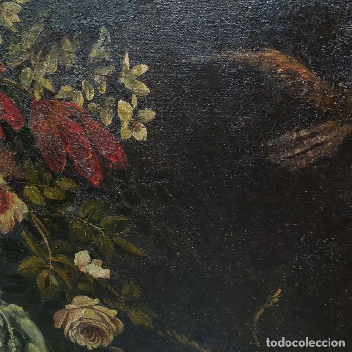 Arte: GRAN BODEGÓN CON FLORES Y PÁJAROS. ÓLEO SOBRE LIENZO. ESCUELA ROMANA. ITALIA. XVII - Foto 10 - 191465488
