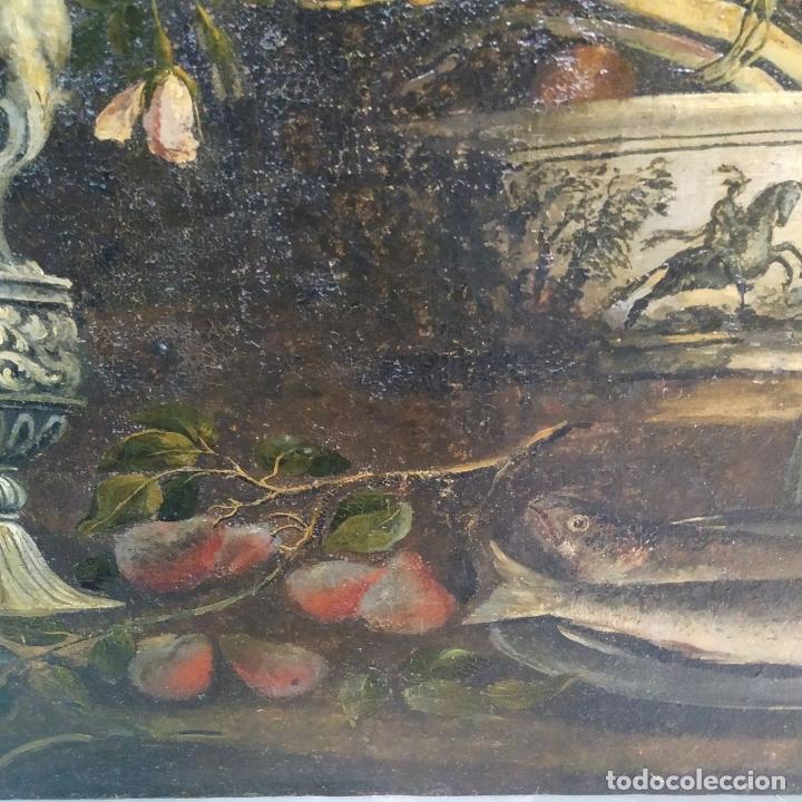 Arte: GRAN BODEGÓN CON FLORES Y PÁJAROS. ÓLEO SOBRE LIENZO. ESCUELA ROMANA. ITALIA. XVII - Foto 18 - 191465488