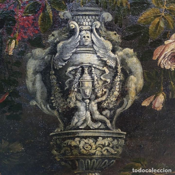 Arte: GRAN BODEGÓN CON FLORES Y PÁJAROS. ÓLEO SOBRE LIENZO. ESCUELA ROMANA. ITALIA. XVII - Foto 20 - 191465488