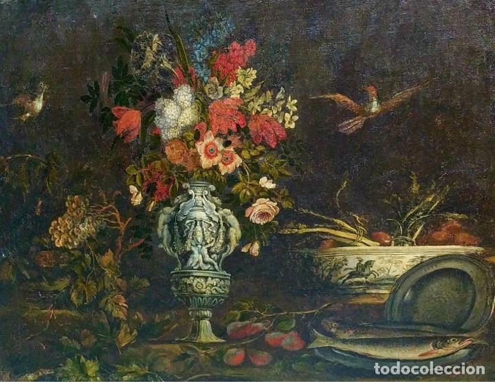 GRAN BODEGÓN CON FLORES Y PÁJAROS. ÓLEO SOBRE LIENZO. ESCUELA ROMANA. ITALIA. XVII (Arte - Pintura - Pintura al Óleo Antigua siglo XVII)