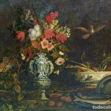 Arte: GRAN BODEGÓN CON FLORES Y PÁJAROS. ÓLEO SOBRE LIENZO. ESCUELA ROMANA. ITALIA. XVII. Lote 191465488