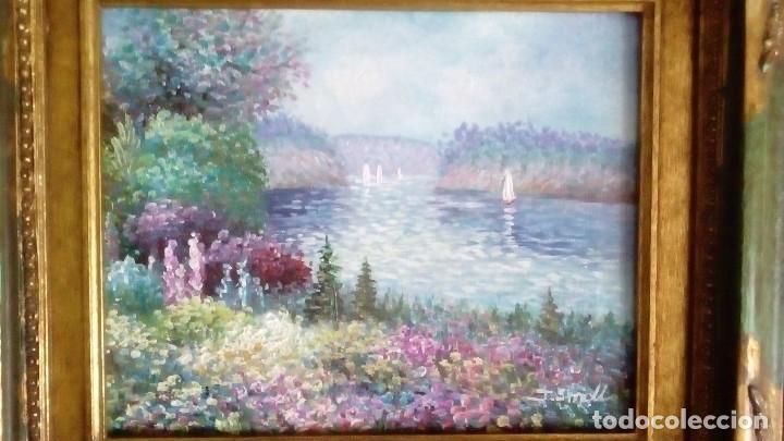 Arte: Cuadro al Óleo, Paisaje fluvial en Primavera - Foto 3 - 191467773