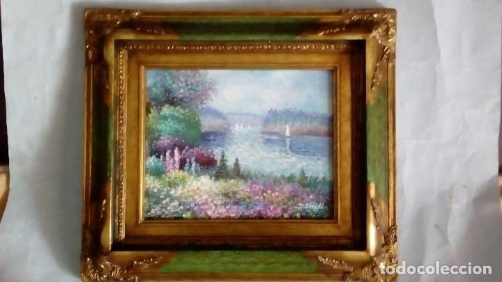 CUADRO AL ÓLEO, PAISAJE FLUVIAL EN PRIMAVERA (Arte - Pintura - Pintura al Óleo Moderna sin fecha definida)